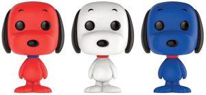 Funko POP de 3 Snoopy Rojo, Blanco y Azul- Los mejores FUNKO POP de Peanuts de Snoopy - Los mejores FUNKO POP de series de dibujos animados y tiras cómicas
